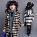 Children Coats Hooded Long Woolen Kids Clothing Jacket 2017 Plaid Girls Outwear Winter New Korean Style ropa mujer 1158