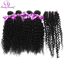 Trendy Beauty Peruvian Kinky Curly Hair 4 Bundles with Closure 100% Human Hair Extensions 8-28inches Middle/Free/Three Non-remy