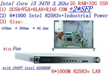 Firewall server rack 1U routers with 6*1000M 82583V Gigabit with 2*SFP InteL I5 3470 3.2Ghz 2G RAM 32G SSD support ROS RouterOS
