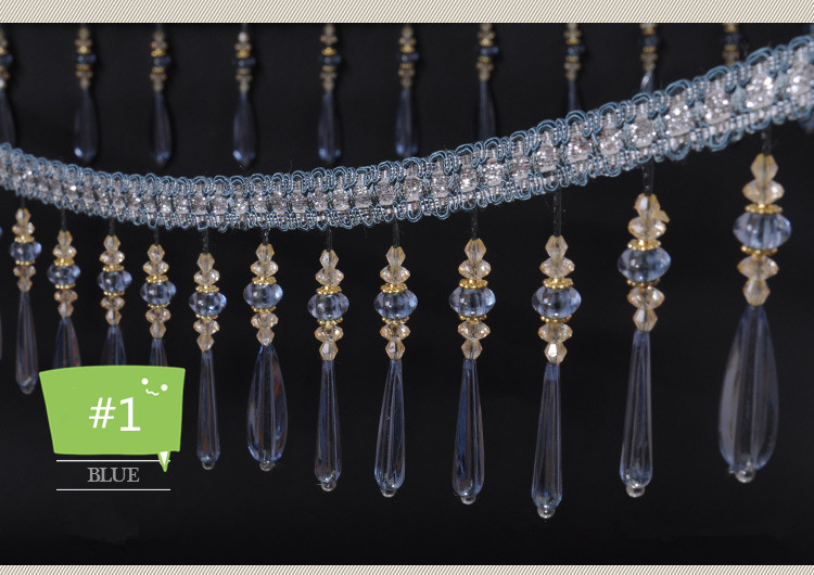 12 meters lot Water Droplets Curtain Lace Tassel Fringe Trim Accessories Crystal Beads Lace Trim Curtain