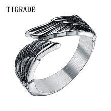 Tigrade vintage jóias masculino anel de aço inoxidável mulher caveira asas anéis masculino cocktail anel conforto ajuste