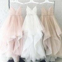Romantic White Front Floor Length Wedding Dress 2019 Bridal Dresses Straps Tulle Zipper Back with 30cm tail Vestido De Noiva