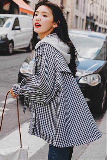 Outwear Plaid Noir Mignon Women Capuche Ds50158 Amovible Lâche Jackets À Court Blanc Féminins Boutonnage Carreaux Vêtements Manteau Double Femmes Windbreake Et 1U1q0