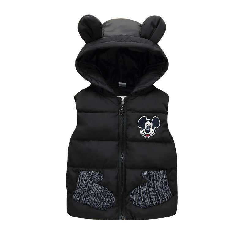 New 2019 Children Autumn Winter Mickey Vest for 1-5T Boys Baby Kids Thick Cartoon Mouse Hooded Warm Waistcoat Clothing Outerwear