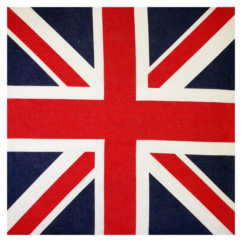 54x54cm Unisex British Flag Union Jack Biker Square Bandana Football Fans Carnival Cotton Head Wrap Hip Hop Dancing Handkerchief