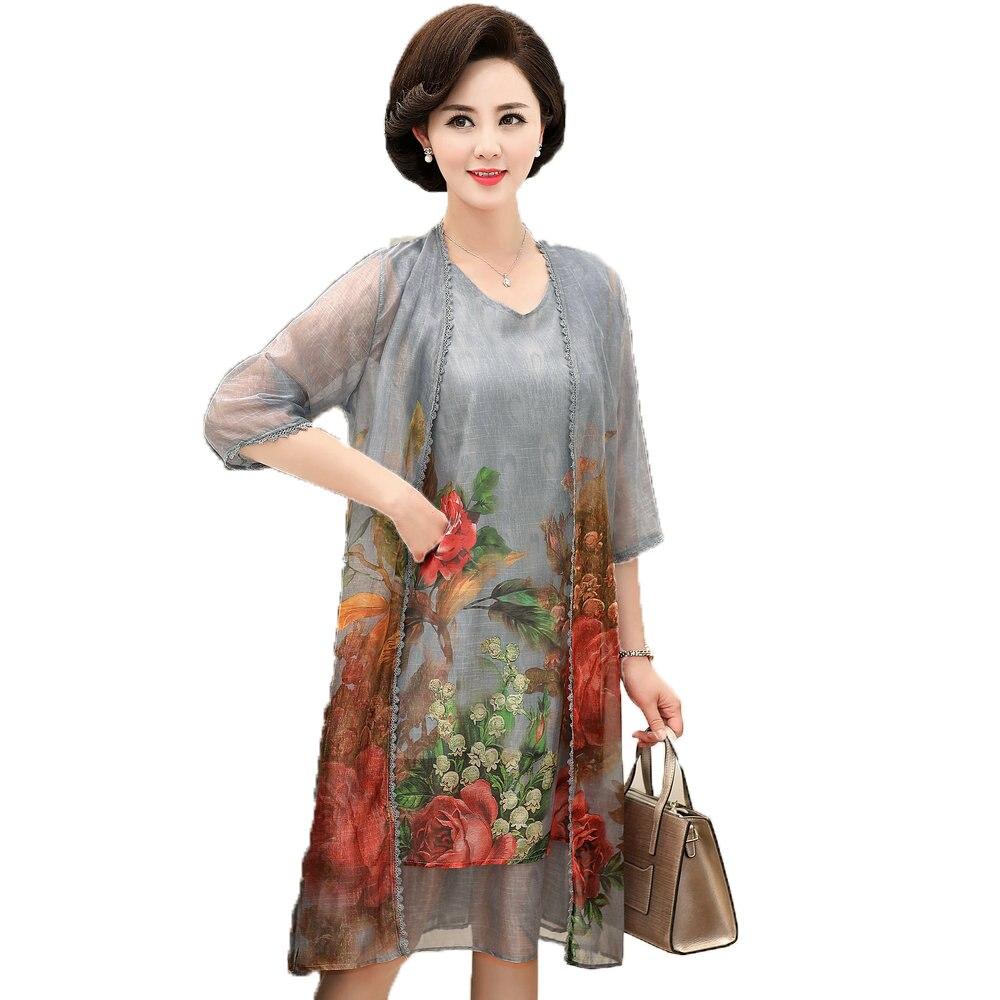 Femmes d'été deux pièces robes gris Orange violet fleur en mousseline de soie Twinset Robe Femme Robe d'été avec Cardigan Femme Robe tenues