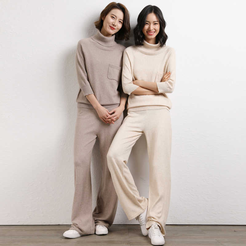 New fashion Women's  High Collar pullover Sweater + Mink Cashmere Trousers Two-piece set Woolen and Cashmere Knitted warm Suit