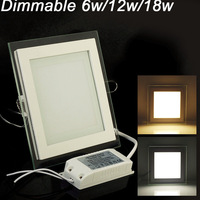 DHL Free Ship 6W 12W 18W LED Panel Downlight Square Glass Panel Lights High Brightness Ceiling