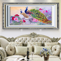 Home Decoration 5d Diy Diamond Painting Peacock Peony Cross Stitch Diamond Embroidery Crystal Round Diamond Mosaic