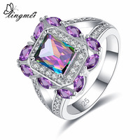 lingmei Original Flawless Fire Rainbow & White Pink Red Purple Cubic Zirconia Fashion Jewelry Silver Wedding 925 Ring Size 6 789