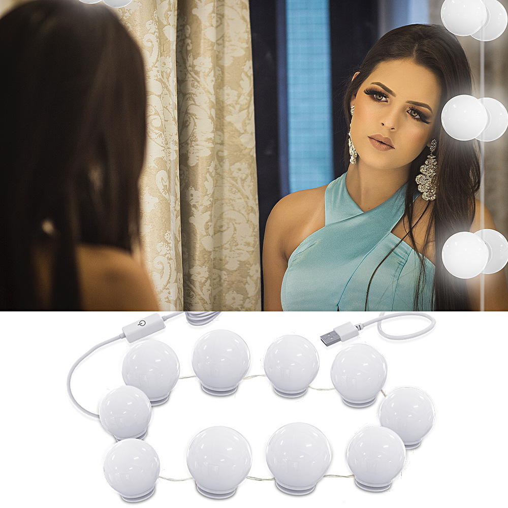 Makeup Mirror Vanity Led Light Bulbs Kit Usb Charging Port