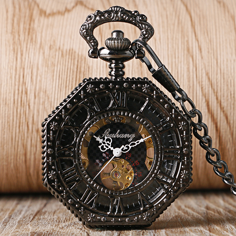 Prix pour Archaize Noir Mode New Skeleton Steampunk Montre De Poche Mécanique Main Vent Chiffres Romains Cadran Horloge Relogio De Bolso