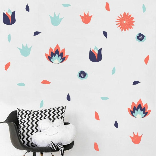 Flaming Red Flowers Diy Wall Sticker For Kids Rooms Decals Retro Nursery Decor Vintage