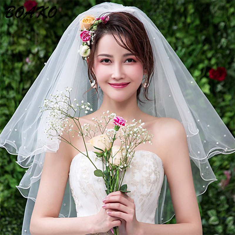 Short Tulle Wedding Veil Without Comb Two Layer White Ivory Bridal Vei Ribbon Edge Women Pearl Veil Cheap Bride Accessories 80CM