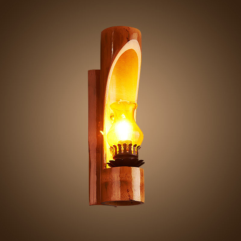 ?Retro Indoor outdoor led ? wall wall light wood glass ? shade shade with E14 candle bulb ...