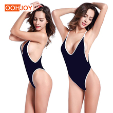 New Deep V Neck Swimsuit Women Backless Bathing Suit Sexy Low Cut Swimwear S-2XL Girl Solid Color Monokini Retro One Piece Suit