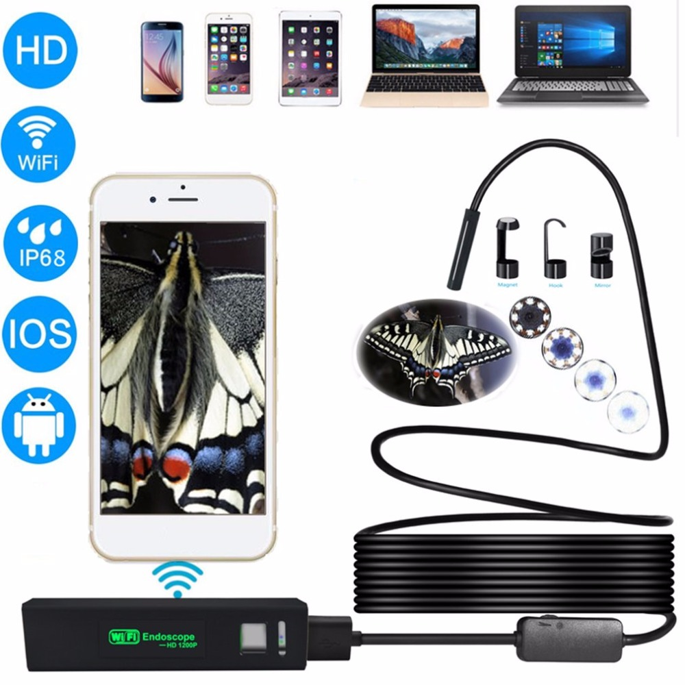 2M HD 1200P Wireless WiFi Endoscope Mini Waterproof Semi Rigid Inspection Camera 8mm Lens 8 LED Borescope for IOS and Android PC zwn wifi endoscope hd 1200p waterproof hard wire usb inspection mini camera with 8mm lens and 8 led borescope for android ios pc
