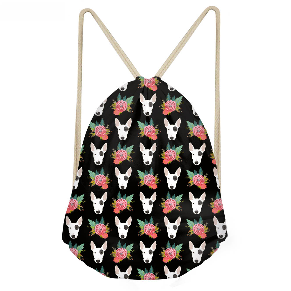 ThiKin Funny Dog Bull Terrier Floral Printing Girls Drawstrings Bags Softback Sack Bags Woman Large Black Storage Beach Bag