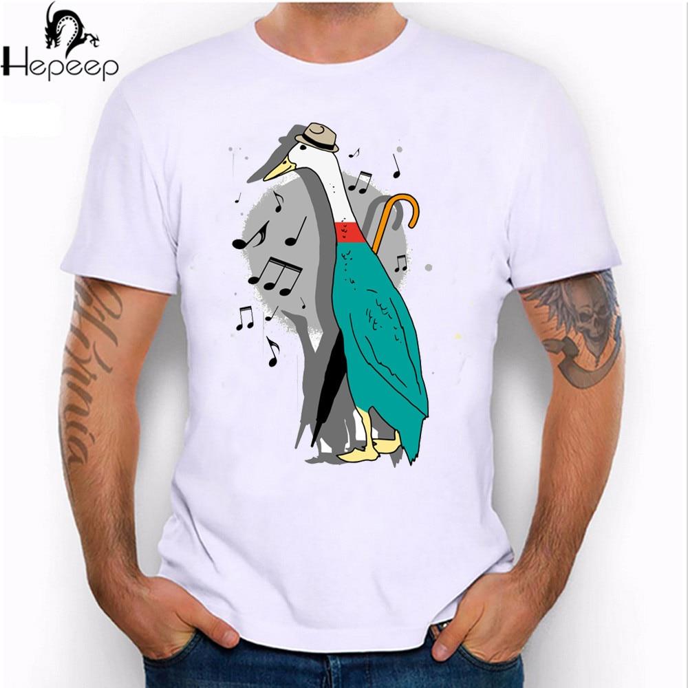 Design t shirt on illustrator - New 2017 Summer Fashion Music Jazz Duck Illustration Design T Shirt Men S High Quality Tops Harajuku Cool Short Sleeve Tees