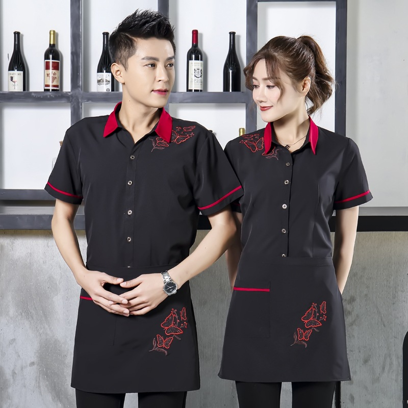 Short Sleeve Black Women Waiter Uniform Restaurant