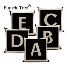Funda de cojín con letras a la moda para el hogar, funda decorativa para cojín Vintage para sala de estar, sofá, funda de cojín de lino, funda de cojín personalizada negra