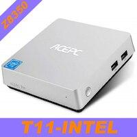 T11 Мини ПК Win10 Z8350 Мини PC компьютер Intel Atom x5 Z8350 1,92 ГГц 4 Гб Оперативная память Windows 10 Linux HDMI VGA HDD настольный компьютер