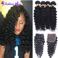 8A Annabelle Hair Brazilian Deep Wave Brazilian Hair Brazilian Virgin Hair With Closure Unprocessed Virgin Human Hair Bundles