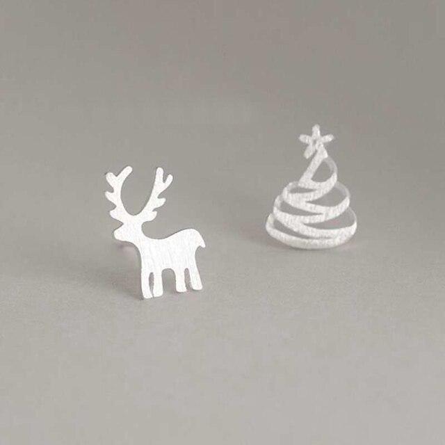Ruifan Asymmetrical Christmas Tree 925 Sterling Silver Stud Earrings for Women Girl Children Small Earrings Fine Jewelry YEA156
