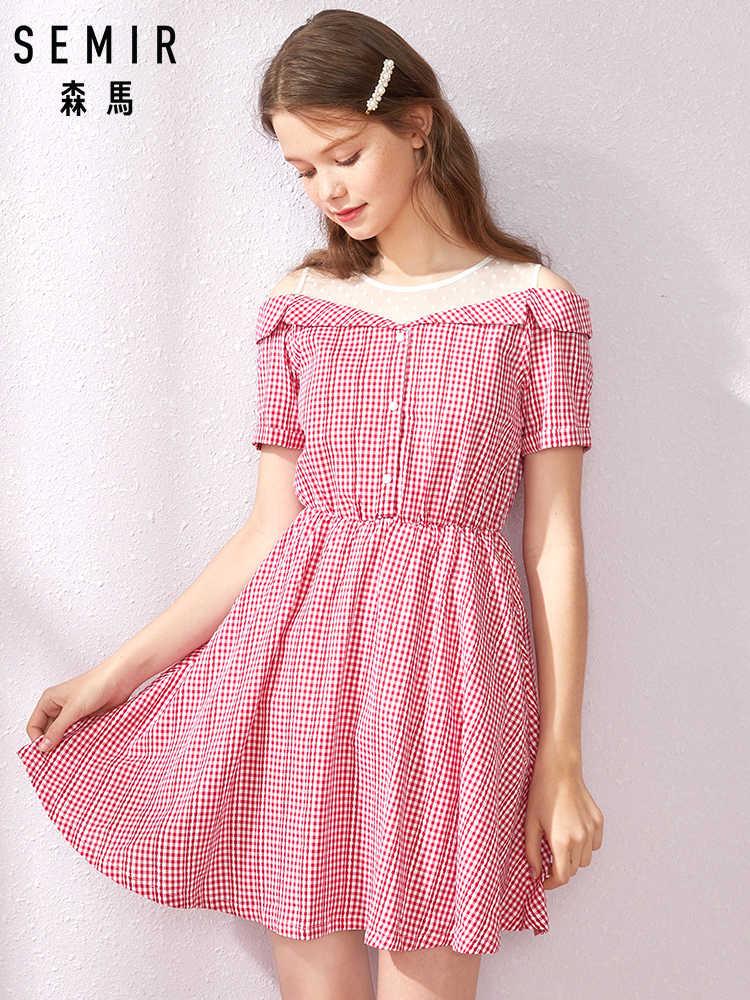 SEMIR Платье женское 2019 новое летнее французское Ретро клетчатое Сетчатое платье с завышенной талией сказочное Супер милое женское платье