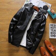 Autumn New  Youth Male Leather Jacket PU Slim Biker Jacket Collar Jacket Metrosexual Men's Baseball Uniform 4 Colours