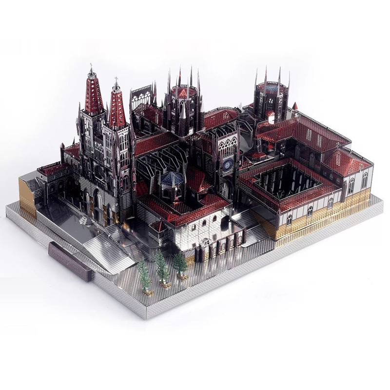 Microworld Spain Burgos Cathedral Architecture 3D Metal Puzzle DIY Assemble Model Kits Laser Cut Jigsaw Toys J046