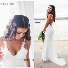 E JUE SHUNG белые кружевные свадебные платья Русалка с v-образным вырезом и открытой спиной богемные Свадебные платья с низкой спинкой пляжное платье невесты