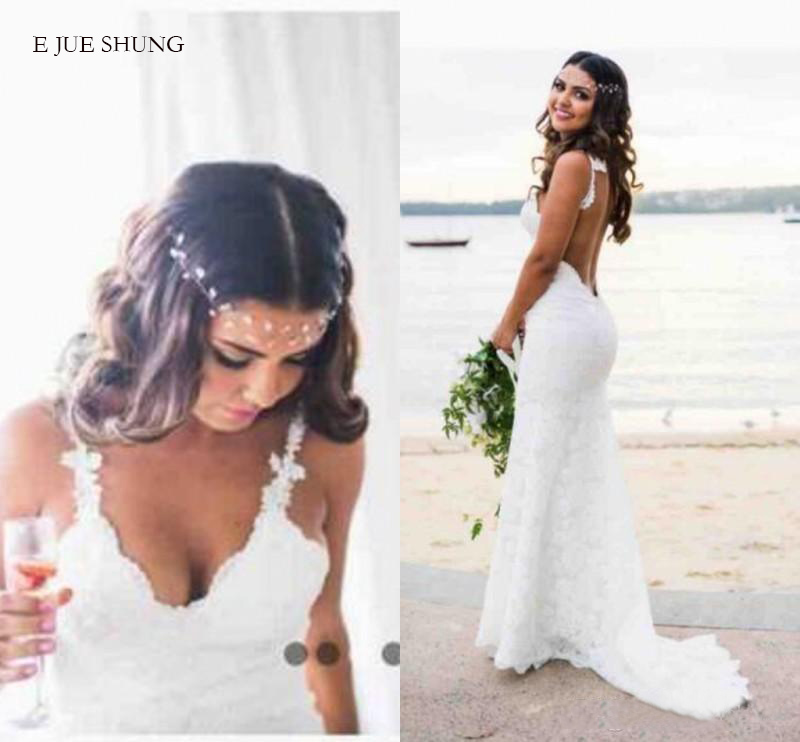 E JUE SHUNG White Lace Mermaid Wedding Dresses V-neck Backless Boho Wedding Gowns Low Back Beach Bride Dress
