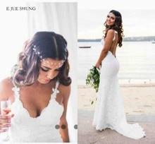 E JUE SHUNG الأبيض الدانتيل حورية البحر فساتين الزفاف الخامس الرقبة عارية الذراعين بوهو فساتين الزفاف منخفضة الظهر شاطئ فستان عروس