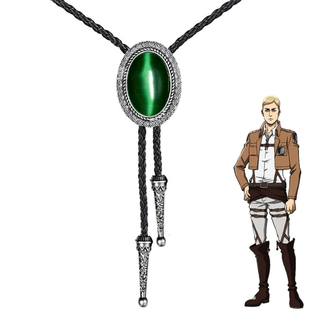 Anime ataque no titan líder erwin smith cosplay colar shingeki não kyojin pingente bolo gravata prop