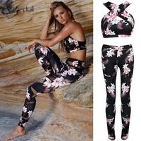 Tracksuit For Women 2 Piece Yoga Set Floral Print Women Bra Long Pants Sportsuite For Women