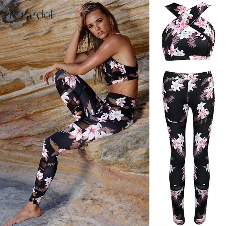 Tuta Per Le Donne 2 pezzo di Yoga Set Con Stampa Floreale Delle Donne Del Reggiseno + Pantaloni Lunghi Sportsuite Per Le Donne Vestito di Sport di Forma Fisica donne Abbigliamento Sportivo
