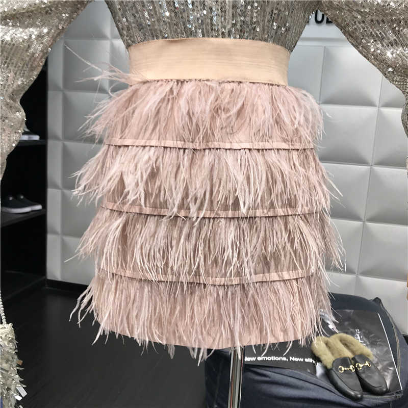 7ee11ae19e New Feather Tassel Skirt Autumn Winter Elastic Waist Cake Skirts Retro  Suede High Waist Solid Color