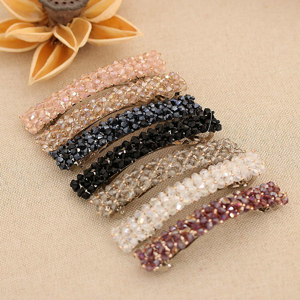 1PC 7 Colors Fashion Women Girls Bling Crystal Hairpins Headwear Rhinestone Hair Clips Pins Barrette Styling Tools Accessories