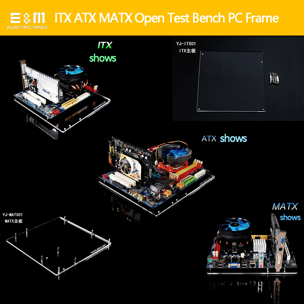 A4 Mini ITX MATX Micro ATX PC Test Bench Open Frame Water Cooling Aluminum Case DIY Bare Overclocking HTPC Support Graphics Card