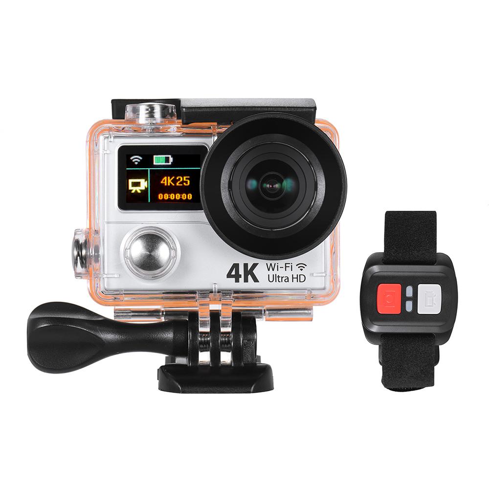 Prix pour 4 K 25fps 1080 P 60fps Full HD 12MP WiFi Sport Action Caméra w/Télécommande + Plusieurs Montage Base Sac de Transport Double LCD écran