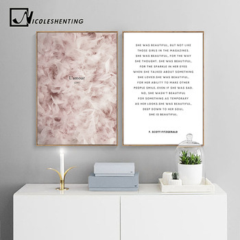 Feather Canvas Poster Nordic Print Minimalist Motivation Quotes Wall Art Painting Scandinavian Decoration Picture Romantic Love
