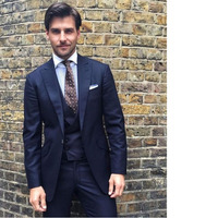 Italian Style Dark Navy Blue Groom Tuxedos Tailor Made Wedding Prom Party Suits For Men Bridegroom