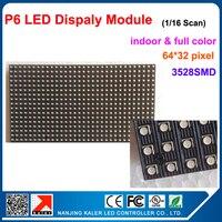 kaler Indoor P6 1/16 Scan RGB color LED module 384*192mm 64*32 pixels for led sign board running message LED sign board