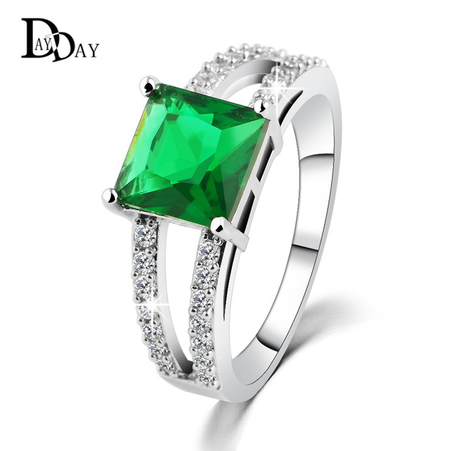 0f79f616f5 New Brand Fashion Big Square cut Emerald Green Stone Women Rings Platinum  Plated Jewelry For Mother Size 5 6 7 8 Free Shipping