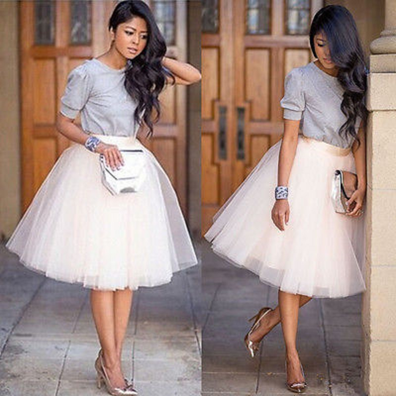 Women Chiffon Tulle Skirt White Black Faldas Vestido High Waist Chiffon Plus Size Female Tutu Tulle  Skirts Puff