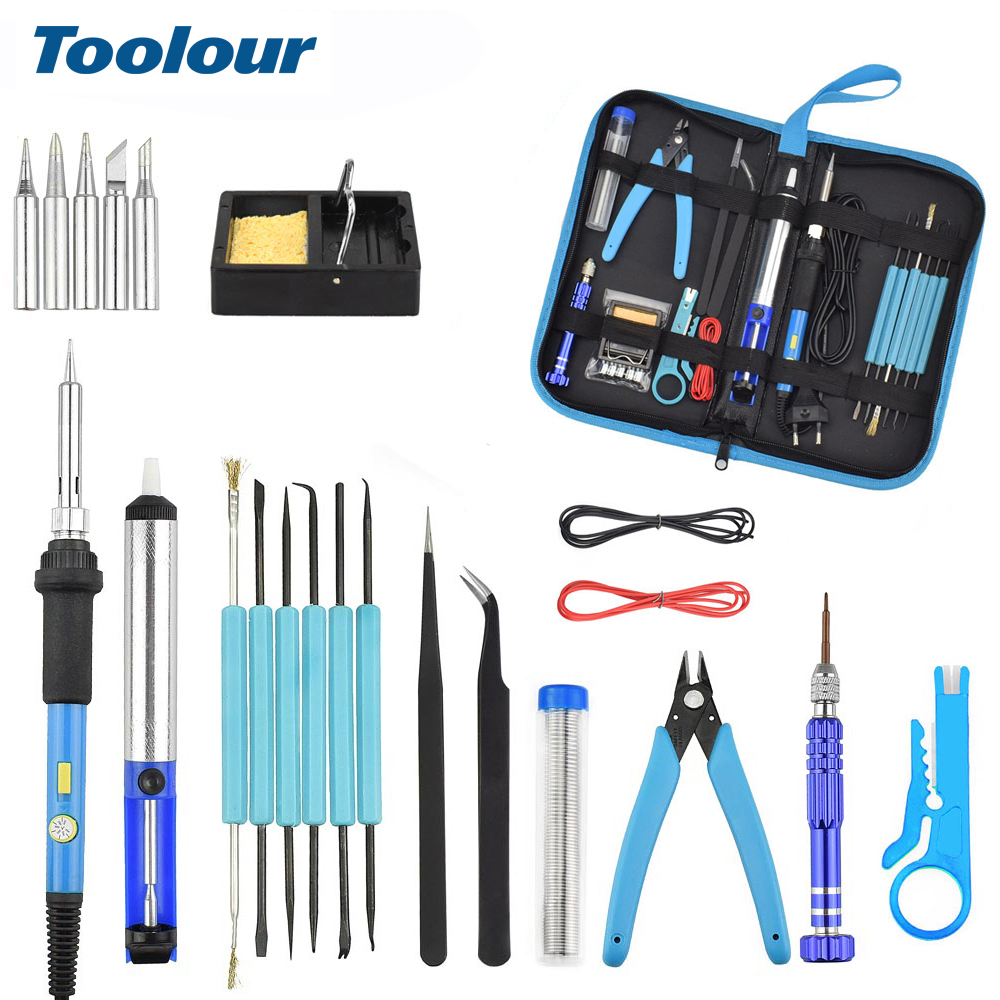 Toolour 110V/220V 60W Adjustable Temperature Electric Soldering Iron Kit with Power Switch+5pcs Soldering Iron Tips Welding Tool-in Electric Soldering Irons from Tools