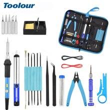Toolour 110V/220V 60W Kit de fer à souder électrique à température réglable avec interrupteur électrique + 5 pièces