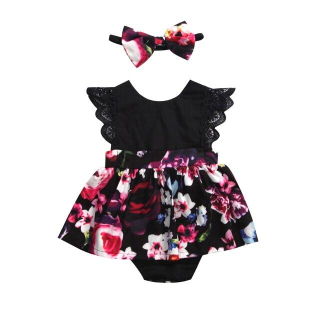 2018 FOCUSNORM recién nacido bebé niña mameluco vestido tutú diadema trajes florales vestido de fiesta