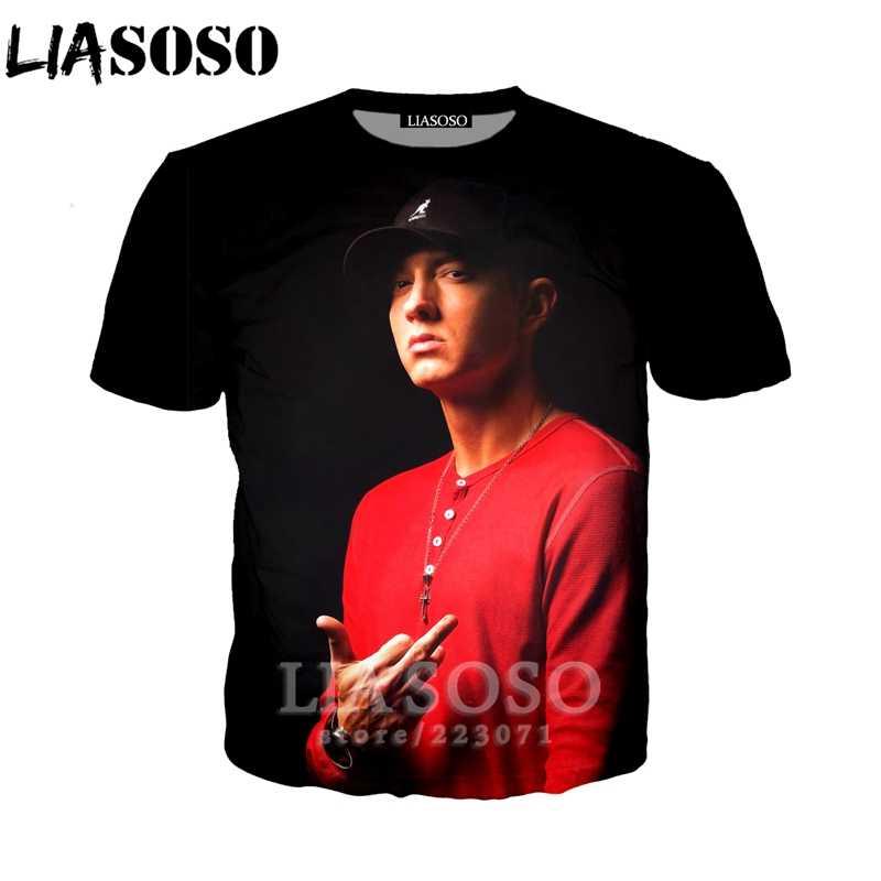 LIASOSO 2019 verano nuevos hombres y mujeres 3D imprimir rapero Eminem manga  corta T camisa sudadera 4a0f3e47091